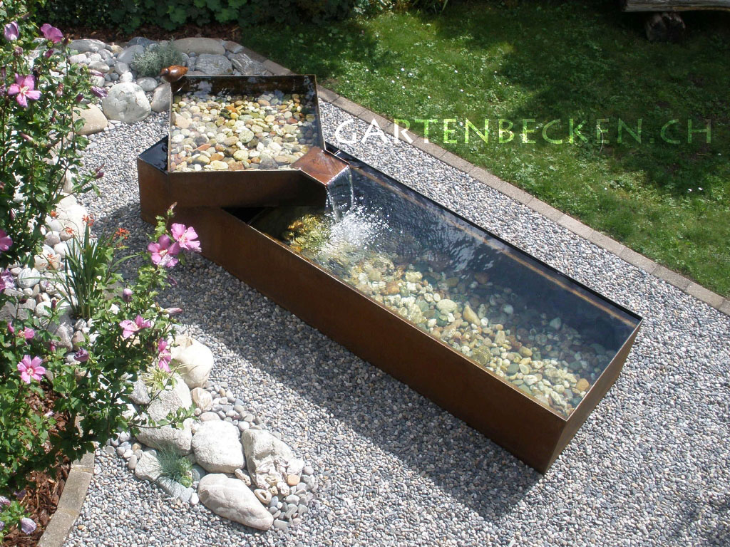 wassertrog stahlbrunnen metallbrunnen brunnen wasserbecken kubarz by. Black Bedroom Furniture Sets. Home Design Ideas